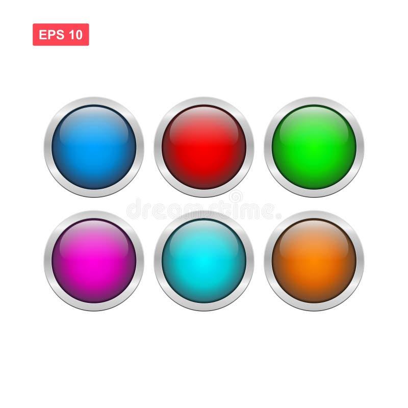 Vettore lucido del bottone dello spazio in bianco isolato illustrazione di stock