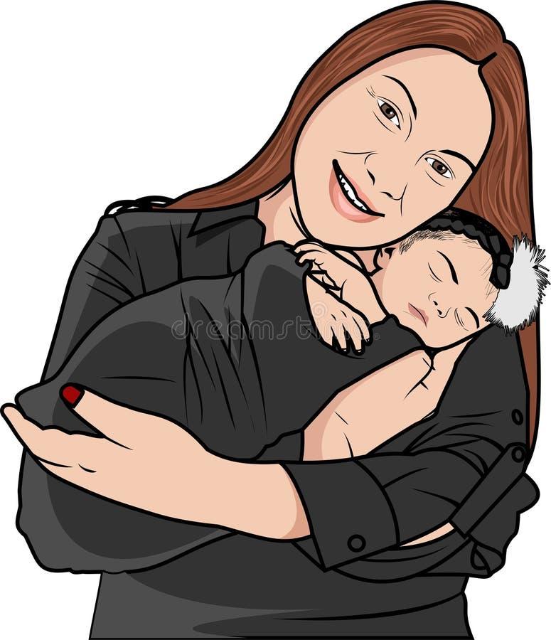 Vettore - madre e bambino illustrazione di stock