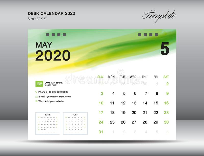 Vettore 2020, MAGGIO 2020 mese del modello del calendario da scrivania con il colpo verde della spazzola dell'acquerello, disposi royalty illustrazione gratis