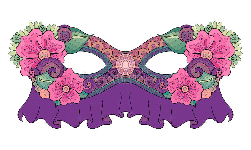 Vettore Mardi Gras Carnival Mask colorato decorato con i fiori decorativi illustrazione di stock