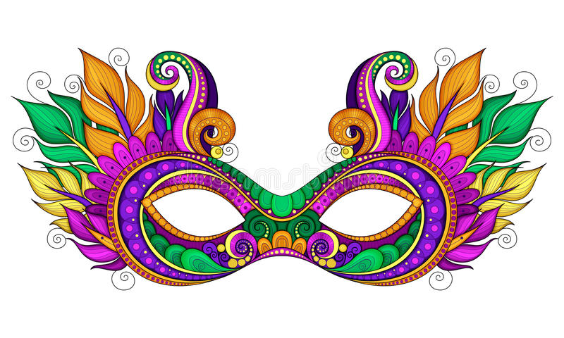 Vettore Mardi Gras Carnival Mask colorato decorato con le piume decorative royalty illustrazione gratis