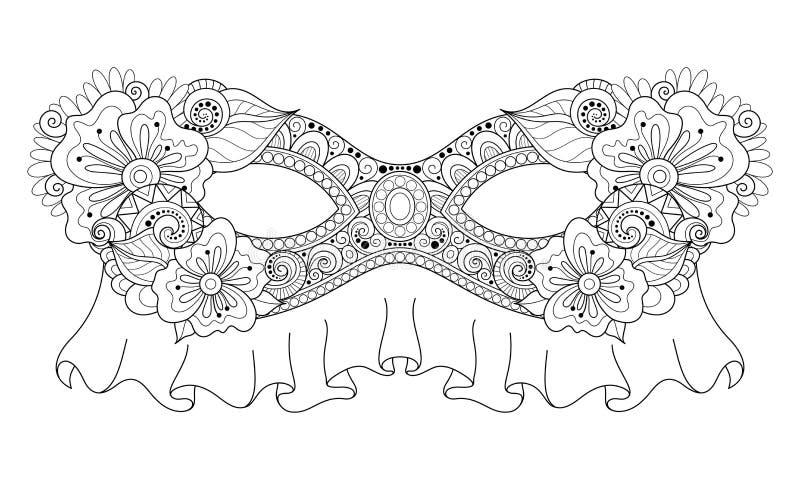 Vettore Mardi Gras Carnival Mask monocromatico decorato con i fiori decorativi royalty illustrazione gratis