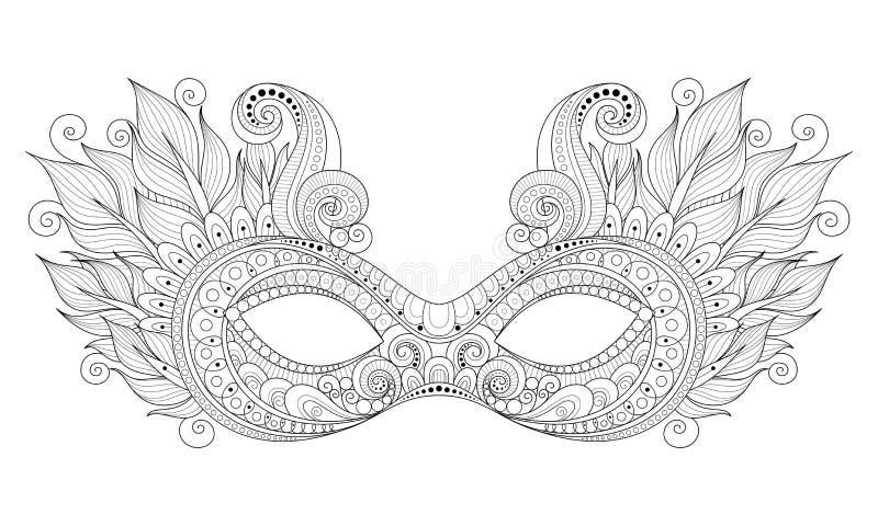Vettore Mardi Gras Carnival Mask monocromatico decorato con le piume decorative illustrazione vettoriale