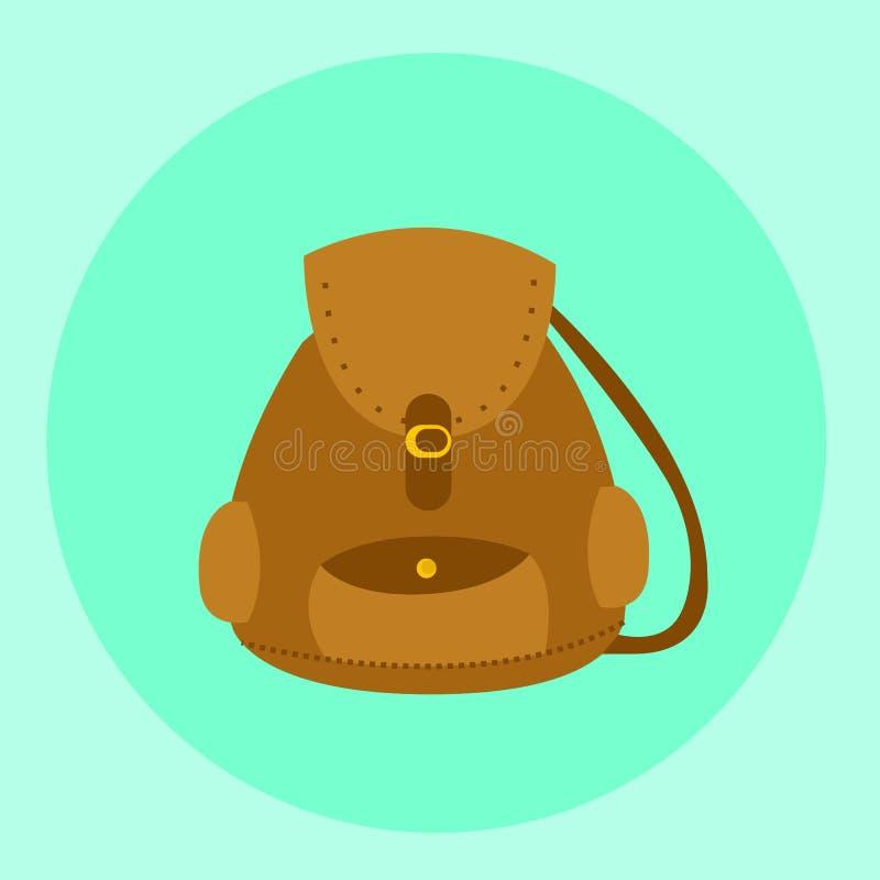 Vettore marrone illustrato dello zaino della borsa royalty illustrazione gratis