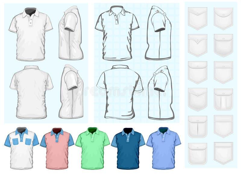 Mascherina di disegno della polo-camicia degli uomini royalty illustrazione gratis