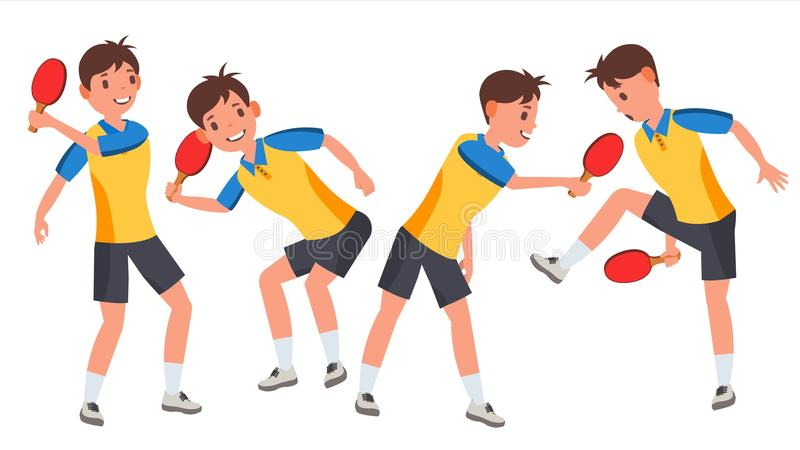 Vettore maschio del giocatore di ping-pong Giocando nelle pose differenti Partita del gioco siluette Atleta dell'uomo Isolato su  royalty illustrazione gratis