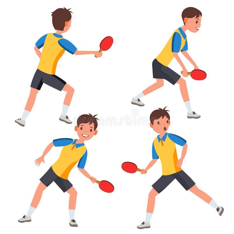 Vettore maschio del giocatore di ping-pong Nell'azione Torce la palla Faccia un rumore metallico l'azzurro di cielo della sfera d royalty illustrazione gratis