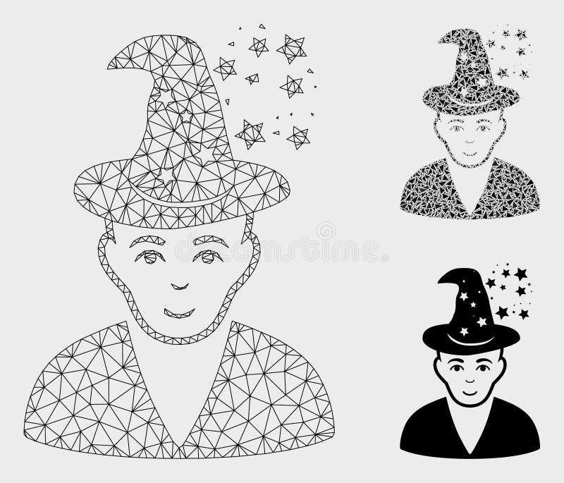 Vettore matrice magico Mesh Wire Frame Model ed icona del mosaico del triangolo royalty illustrazione gratis