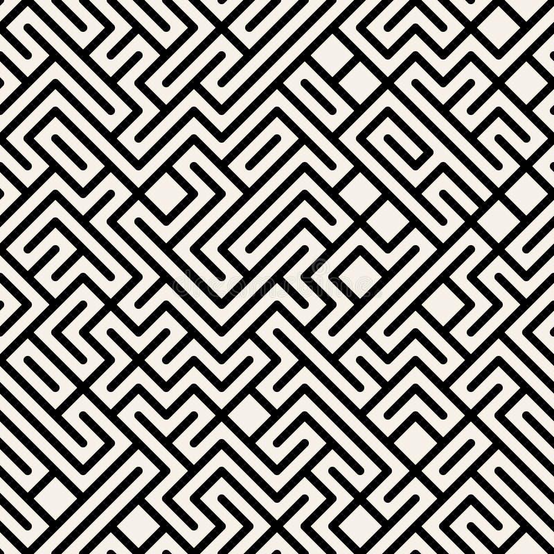 Vettore Maze Geometric Seamless Pattern in bianco e nero illustrazione di stock