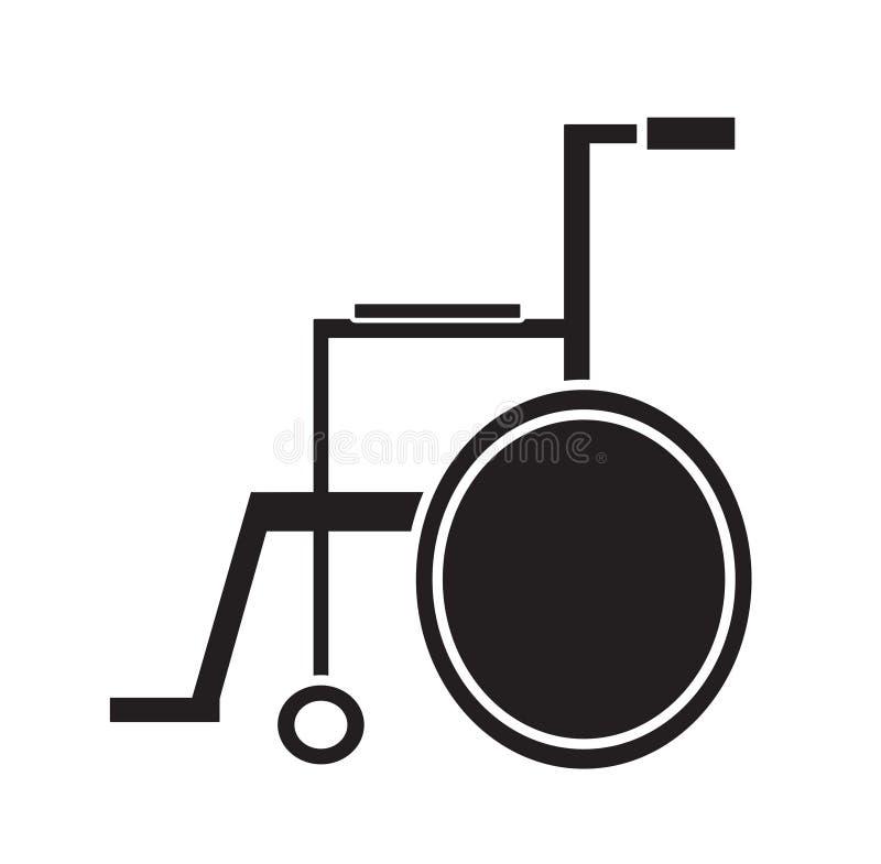 Vettore medico in bianco e nero dell'icona della sedia a rotelle isolato nel fondo bianco illustrazione vettoriale