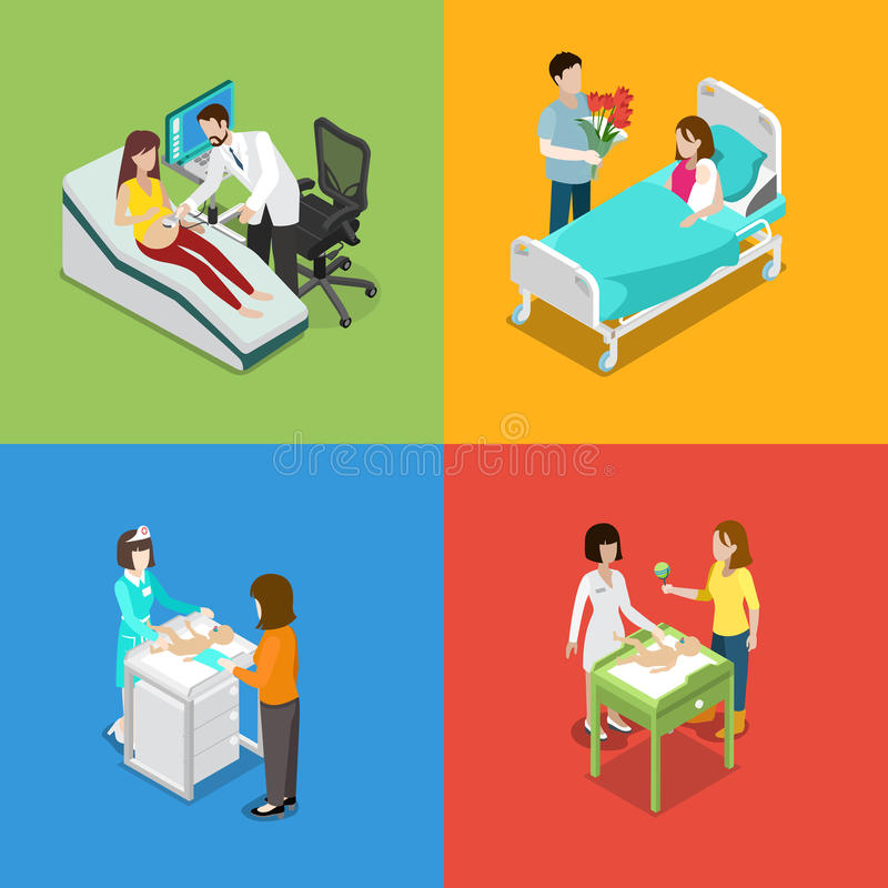 Vettore medico isometrico piano 3d di gravidanza prenatale della medicina illustrazione di stock