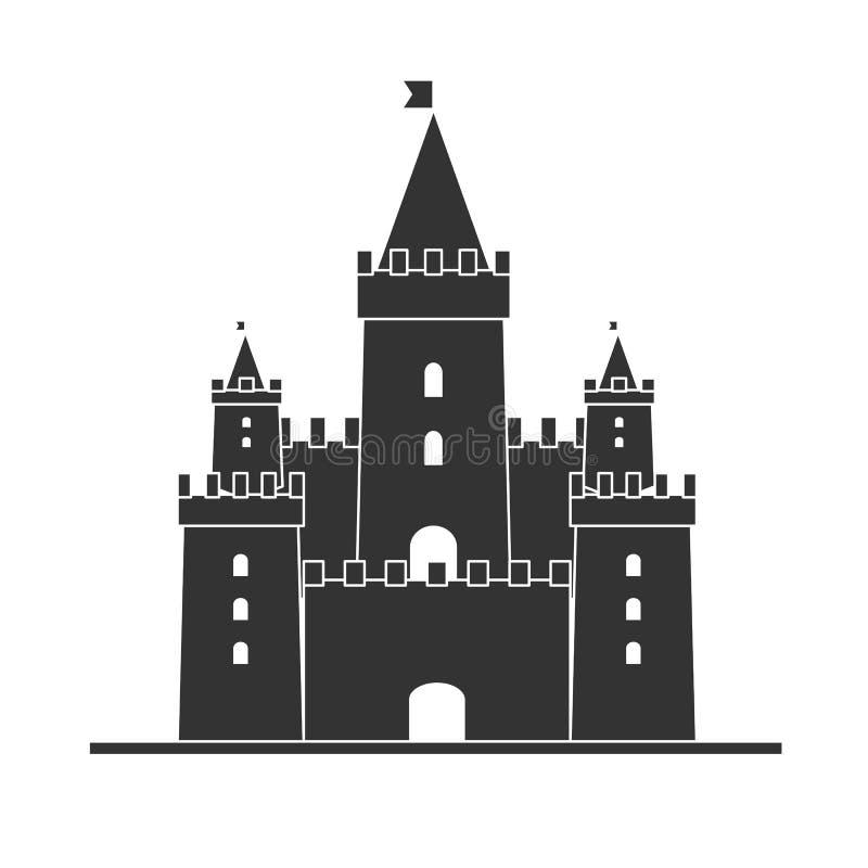 Vettore medievale dell'icona del castello Siluetta della torre del castello in uno stile piano illustrazione di stock