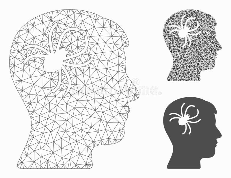 Vettore mentale Mesh Network Model del ragno del parassita ed icona del mosaico del triangolo royalty illustrazione gratis