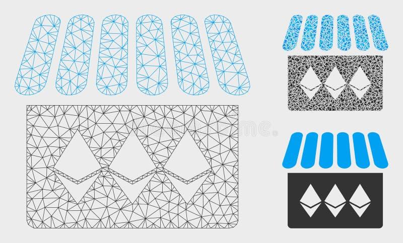Vettore Mesh Carcass Model del negozio di gioielli ed icona del mosaico del triangolo illustrazione di stock