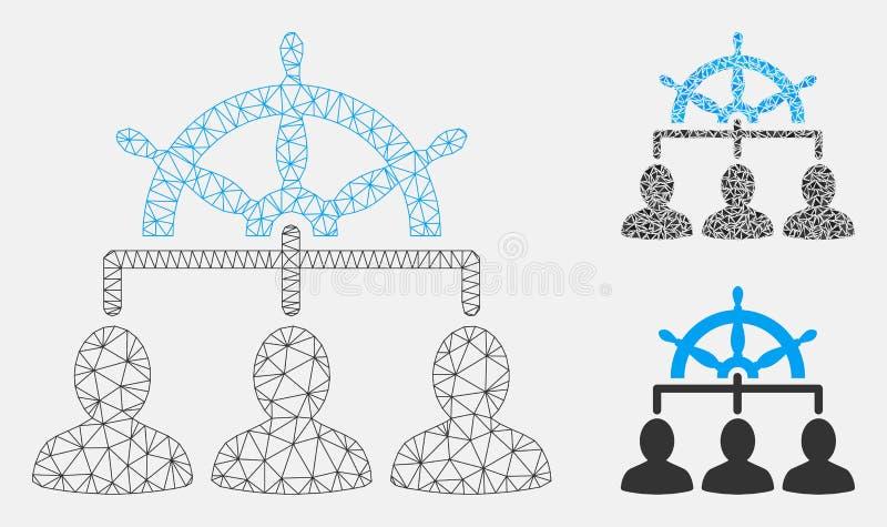 Vettore Mesh Carcass Model del volante della gestione ed icona del mosaico del triangolo illustrazione di stock