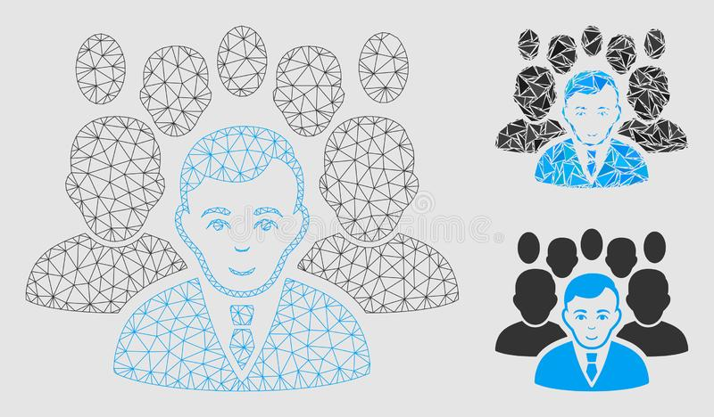 Vettore Mesh Carcass Model della folla ed icona del mosaico del triangolo illustrazione vettoriale