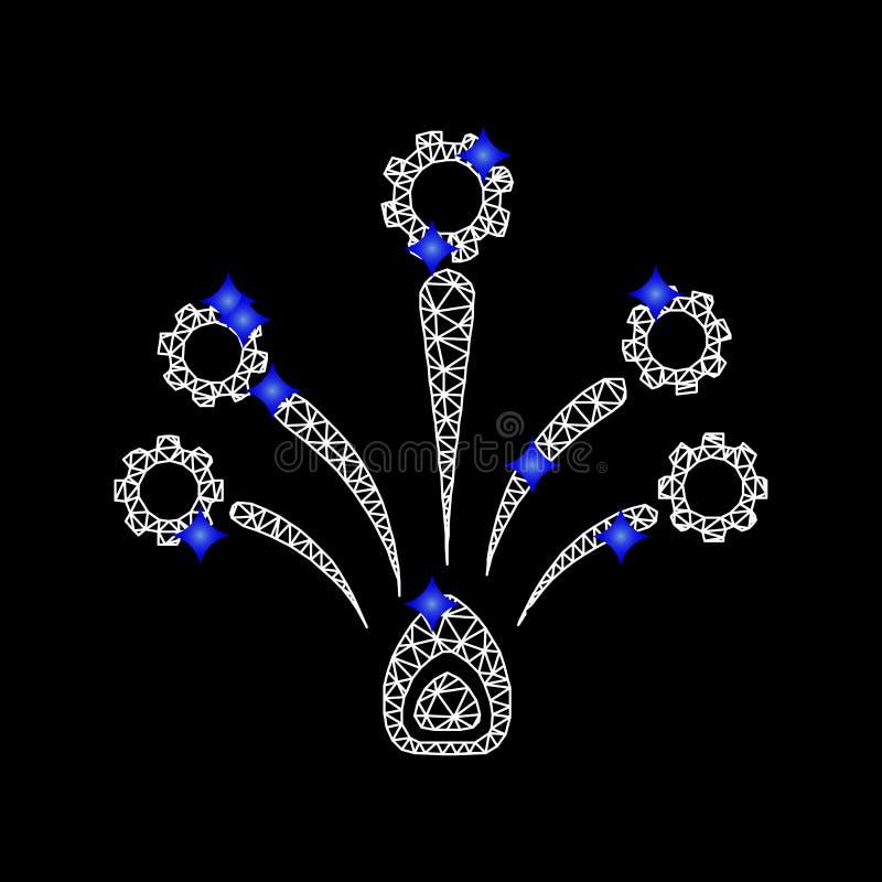 Vettore Mesh Gear Fireworks Icon con i diamanti blu royalty illustrazione gratis