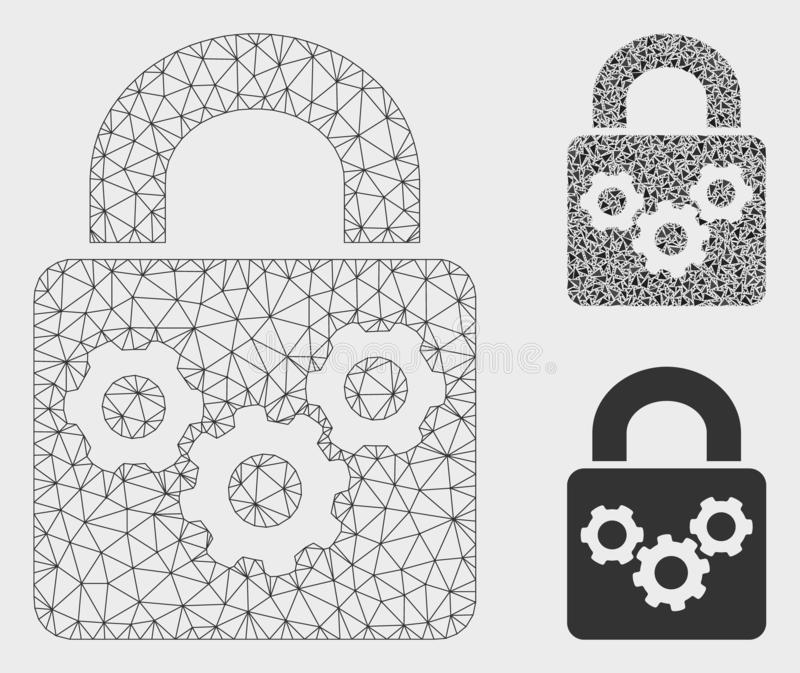 Vettore Mesh Network Model degli ingranaggi della serratura ed icona del mosaico del triangolo illustrazione di stock