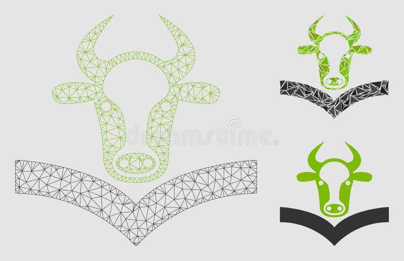 Vettore Mesh Network Model del manuale della mucca ed icona del mosaico del triangolo royalty illustrazione gratis