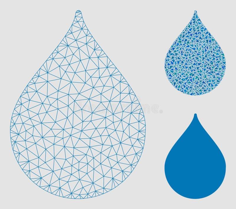 Vettore Mesh Network Model di goccia ed icona del mosaico del triangolo illustrazione di stock