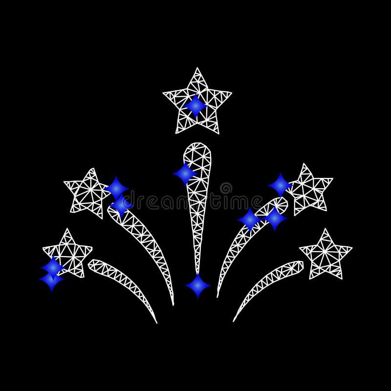 Vettore Mesh Salute Star Fireworks Icon con i diamanti blu illustrazione vettoriale