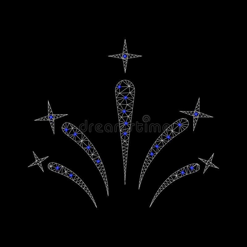 Vettore Mesh Star Fireworks Icon con i diamanti blu illustrazione vettoriale