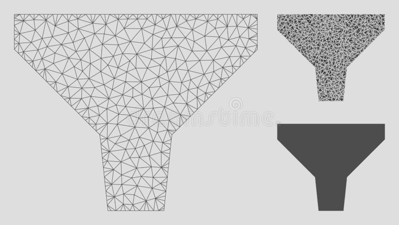 Vettore Mesh Wire Frame Model del filtro ed icona del mosaico del triangolo illustrazione vettoriale
