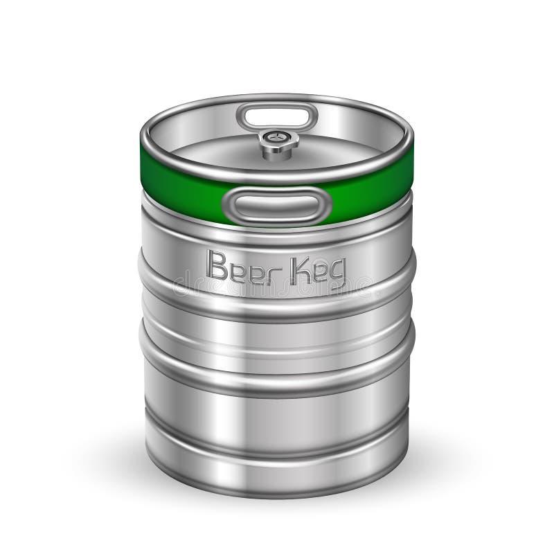 Vettore metallico classico del barilotto del barile di birra di Chrome illustrazione di stock