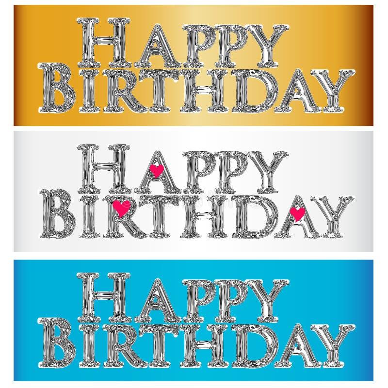 Vettore metallico di logo di immagine dell'etichetta di simbolo di parole di lustro di buon compleanno royalty illustrazione gratis