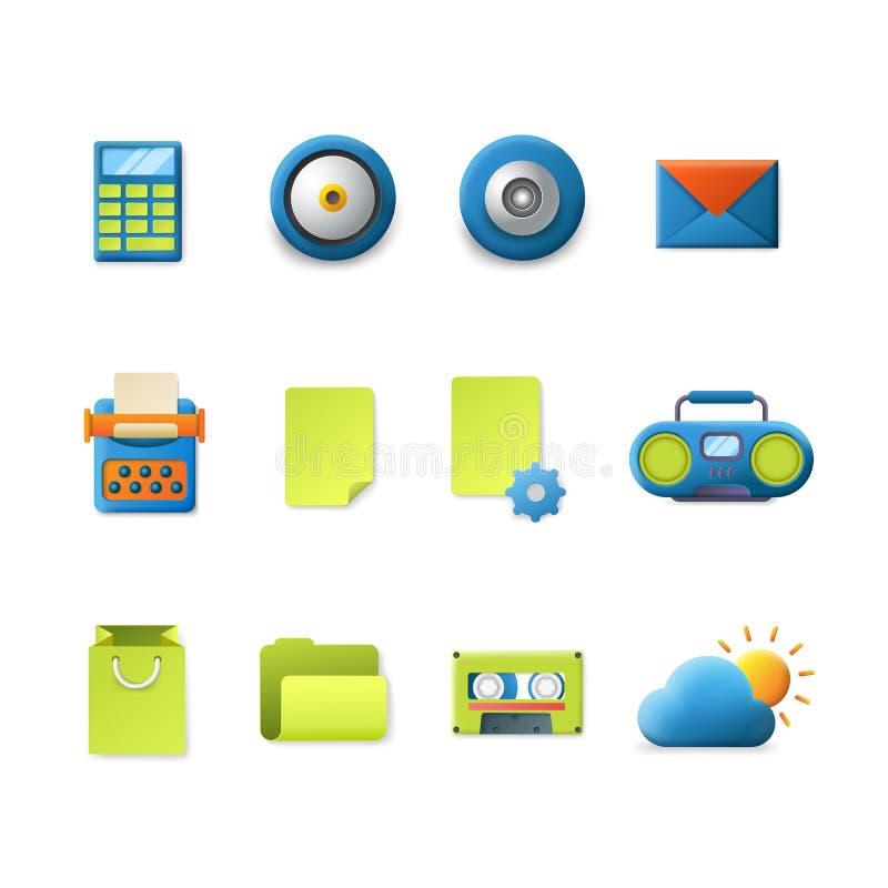 Vettore mobile di app delle icone di tecnologia di pendenza: cartella del tempo della posta illustrazione vettoriale
