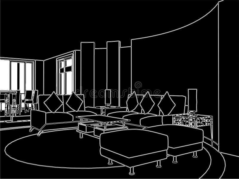 Vettore moderno 01 della sala da pranzo e di vita illustrazione vettoriale