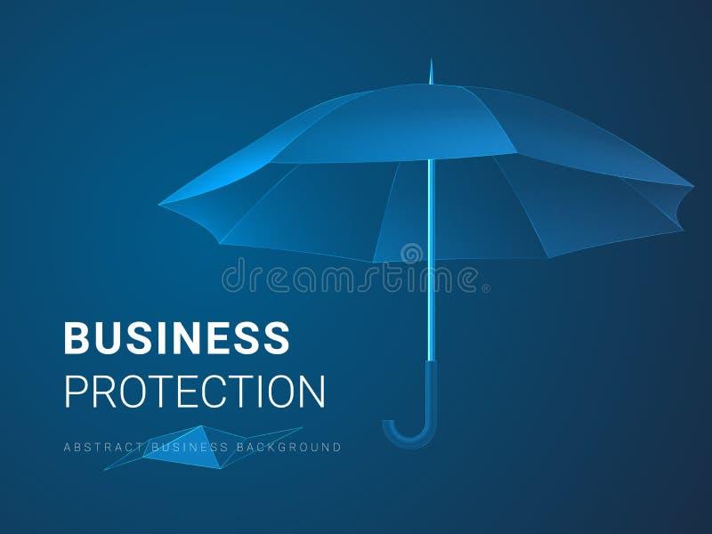 Vettore moderno astratto del fondo di affari che descrive protezione di affari nella forma di un ombrello su fondo blu illustrazione vettoriale