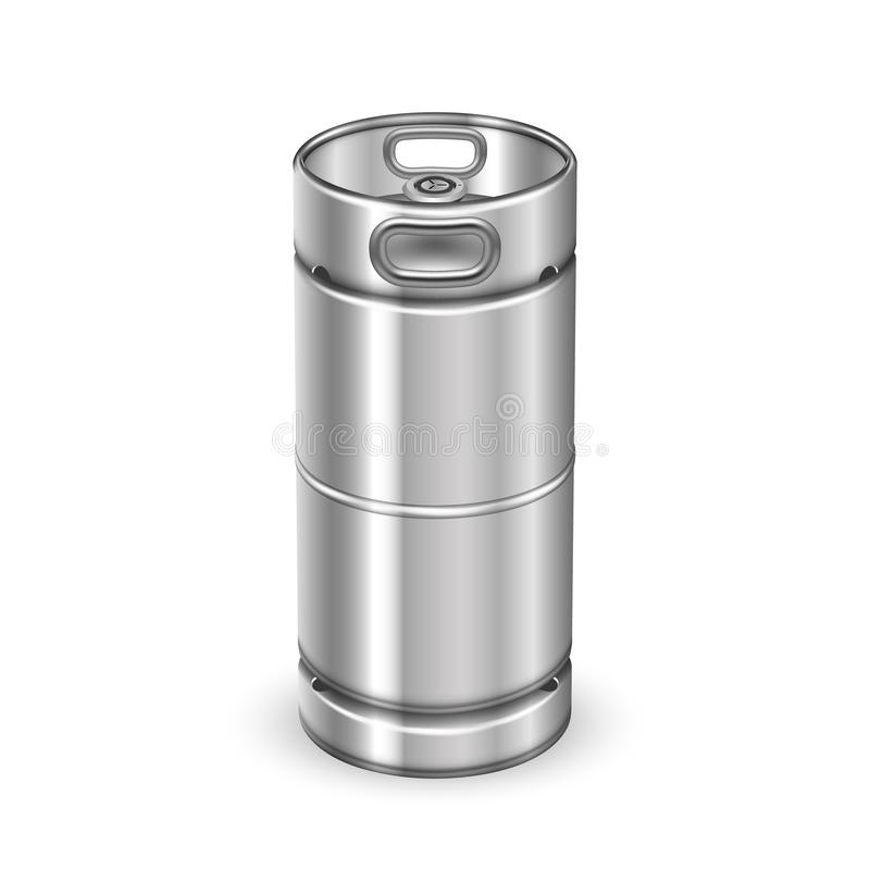 Vettore moderno del barilotto del barile della bevanda del metallo di Chrome illustrazione di stock