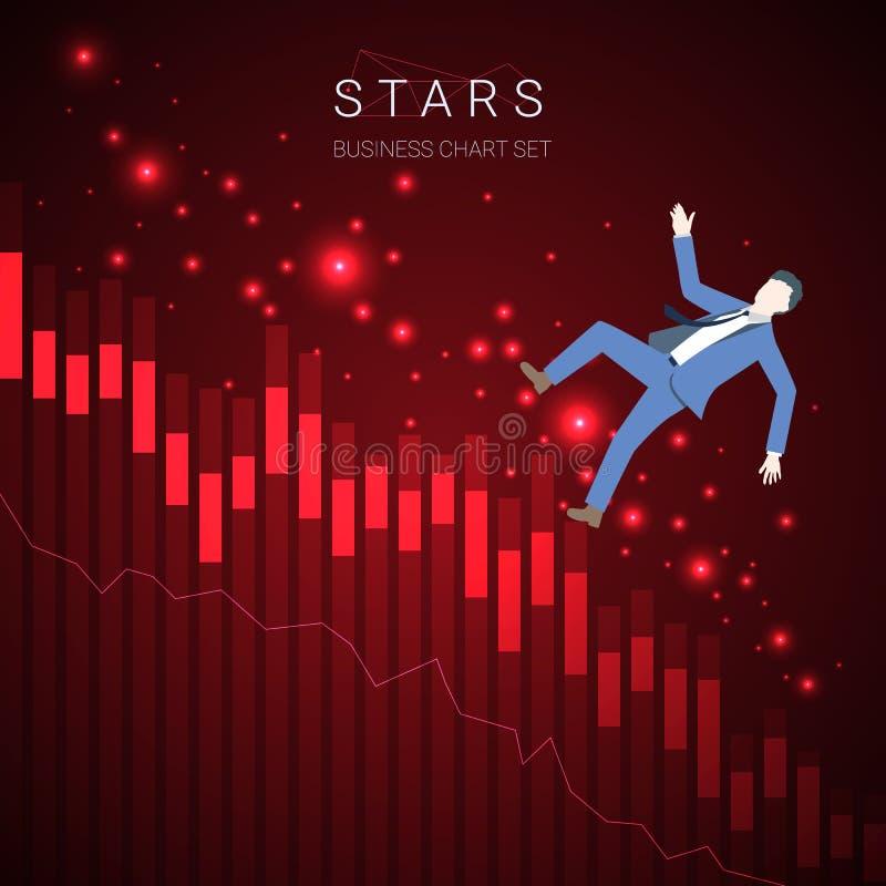 Vettore moderno del grafico di declino di affari con un uomo d'affari che cadono e le stelle su fondo rosso scuro illustrazione vettoriale