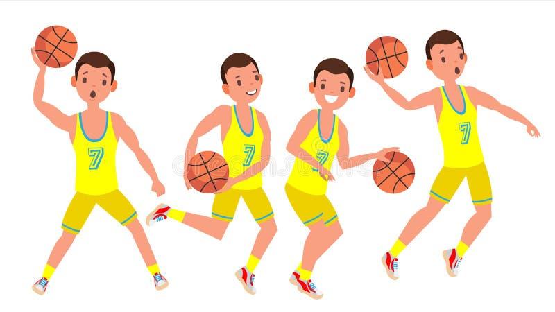 Vettore moderno dell'uomo del giocatore di pallacanestro Concetto di sport royalty illustrazione gratis