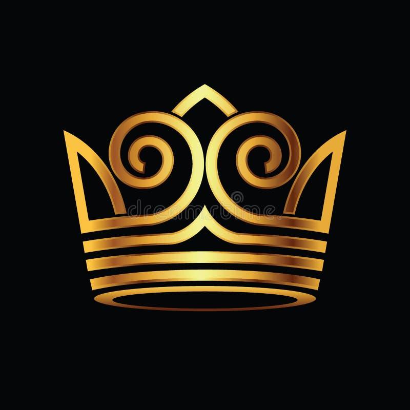 Vettore moderno di logo dell'oro della corona illustrazione di stock
