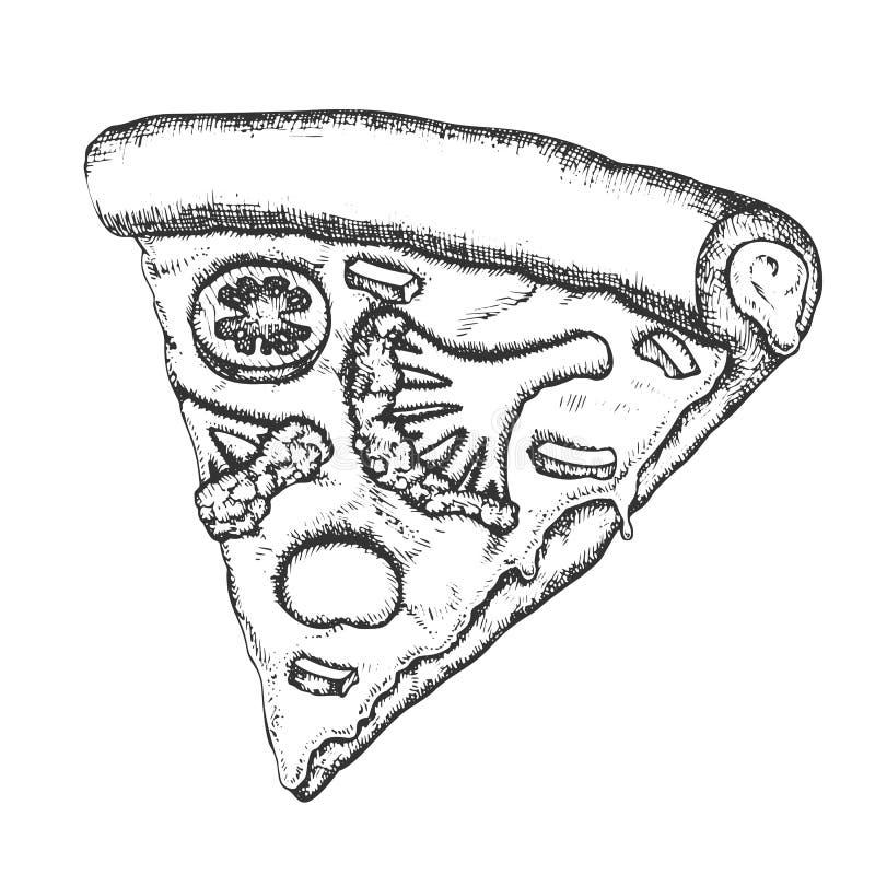 Vettore monocromatico della pizza italiana vegetariana della fetta royalty illustrazione gratis