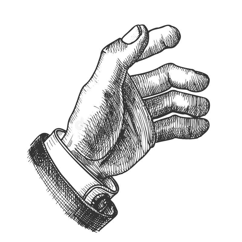 Vettore monocromatico di Hand Make Gesture dell'uomo d'affari illustrazione di stock