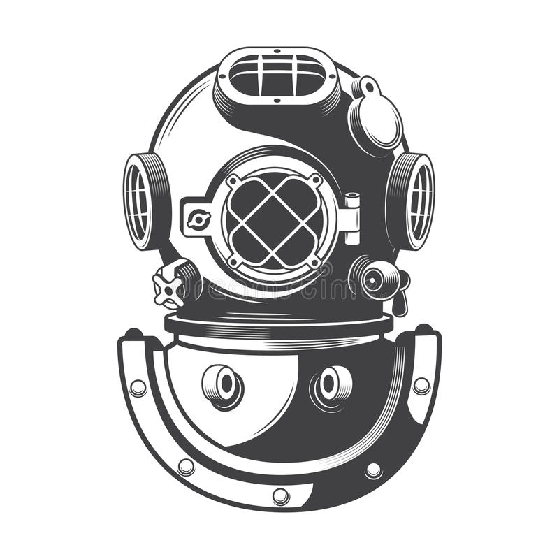 Vettore nautico d'annata del casco di immersione subacquea royalty illustrazione gratis