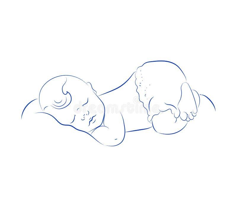 Vettore neonato adorabile di sonno Piccolo bambino addormentato sveglio Schizzo di contorno, disegnato a mano illustrazione di stock
