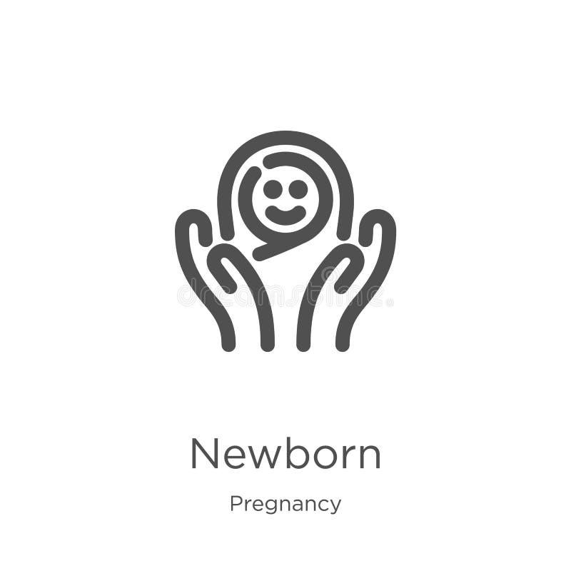 vettore neonato dell'icona dalla raccolta di gravidanza Linea sottile illustrazione neonata di vettore dell'icona del profilo Pro illustrazione di stock