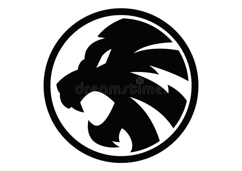 Vettore nero del segno di simbolo del leone immagine stock