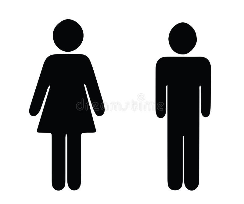 Vettore nero dell'uomo e della donna della siluetta - icone della toilette del wc illustrazione di stock