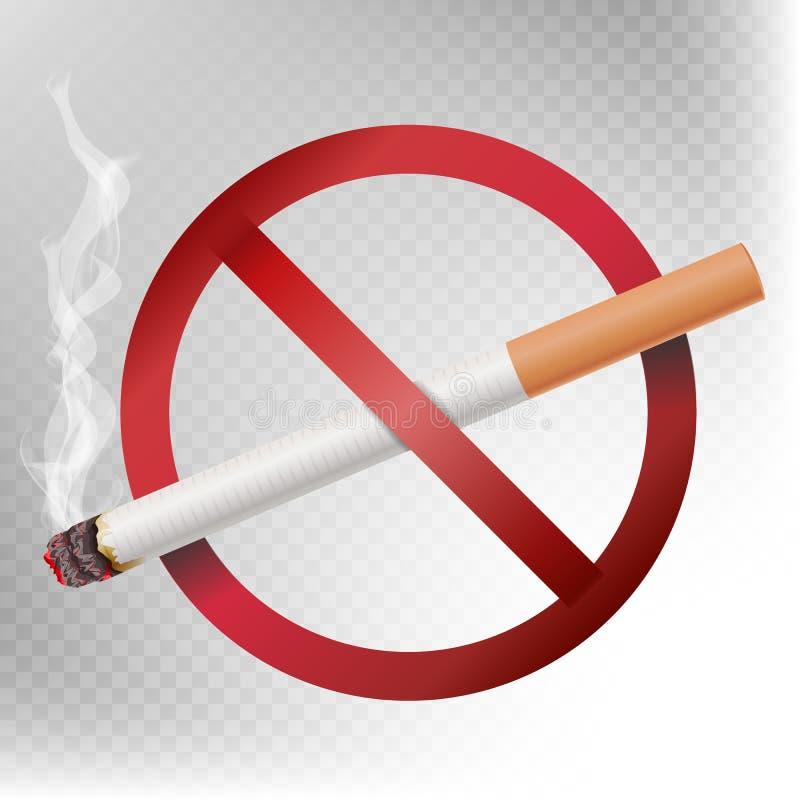 Vettore non fumatori del segno Illustrazione su fondo trasparente Sigaretta con fumo e sala non fumatori rossa illustrazione di stock
