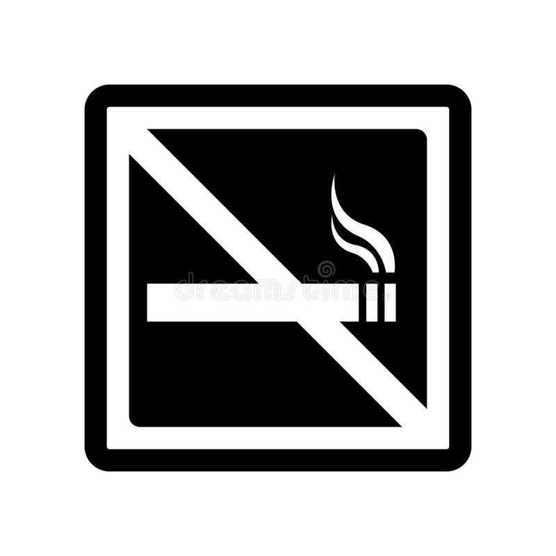 Vettore non fumatori dell'icona del segno isolato su fondo bianco, nessuno Smo illustrazione di stock