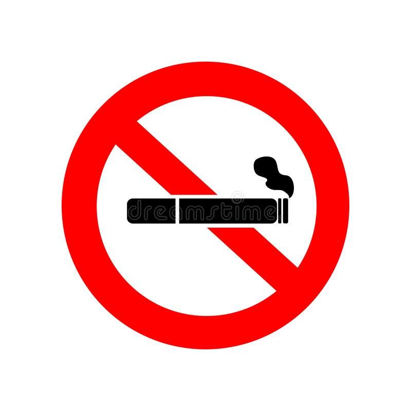 Vettore non fumatori L'icona della sigaretta con il filtro ed il fumo nel rosso hanno depennato il cerchio fotografia stock