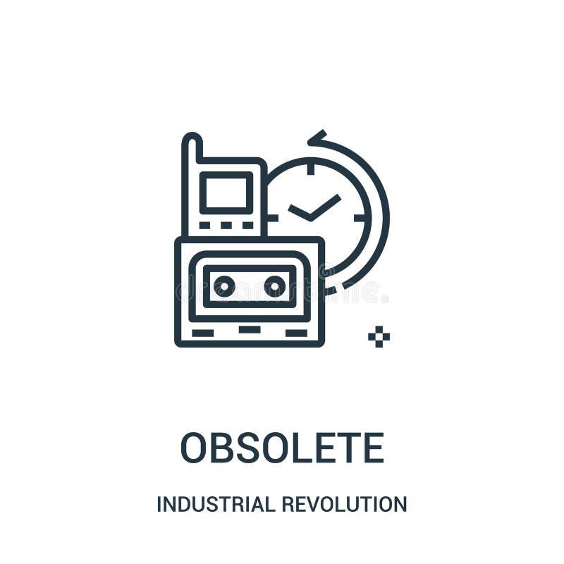 vettore obsoleto dell'icona dalla raccolta della rivoluzione industriale Linea sottile illustrazione obsoleta di vettore dell'ico royalty illustrazione gratis