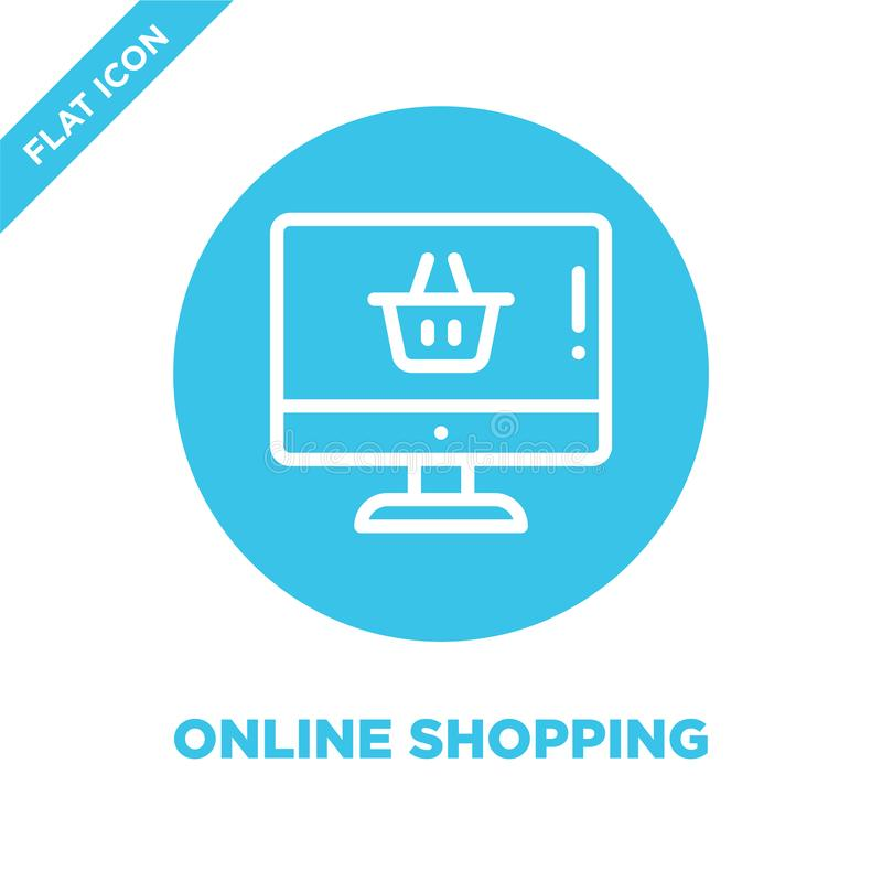 Vettore online dell'icona di acquisto Linea sottile illustrazione di compera online di vettore dell'icona del profilo simbolo di  illustrazione di stock