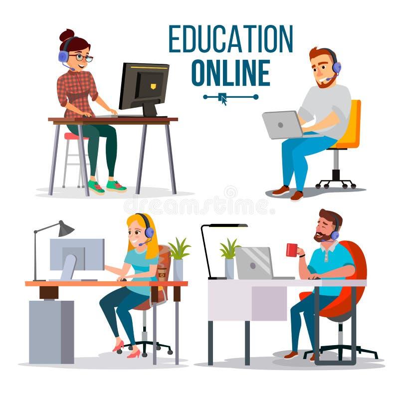 Vettore online di concetto di istruzione La gente che usando servizio online di istruzione, corso Concetto di scienza di e-learni royalty illustrazione gratis