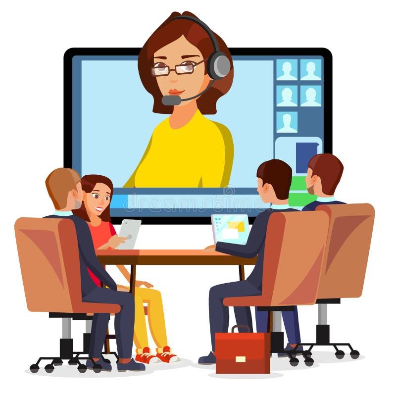 Vettore online di video riunione Donna e chiacchierata Ceo ed impiegati Riunione d'affari, consultazione, ufficio di conferenza illustrazione vettoriale